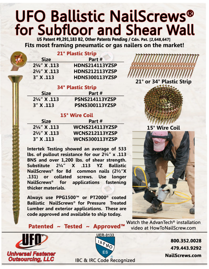 Ballistic NailScrews for Subfloor & Shear Wall