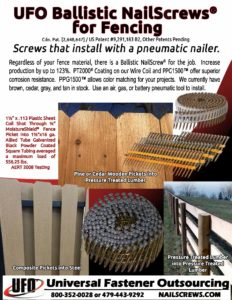 Ballistic NailScrews for Fencing